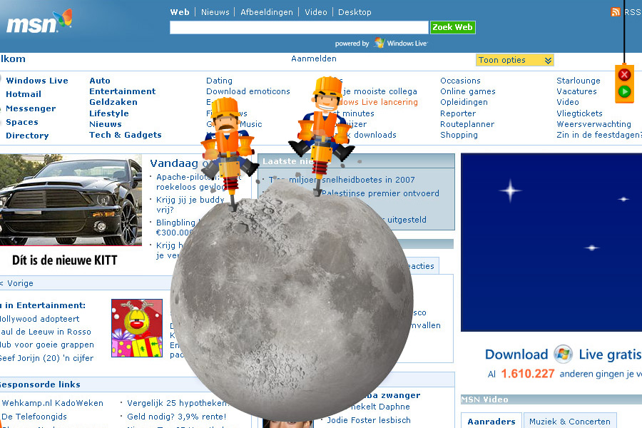 Homepage takeover animation for msn